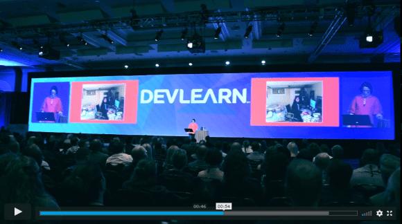 Capture d'écran de la vidéo de promotion de DevLearn, un des plus grands salon de la formation à Las Vegas