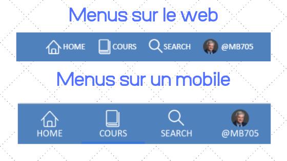 Comparaison des menus sur Course Networking web et smartphone