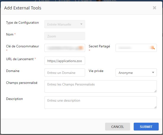 Capture d'écran : ajout des clés LTI de Zoom pour le lancer depuis le LMS Course Networking