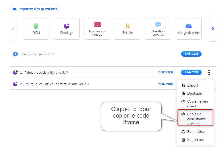 Intégrer des questions Wooclap dans Genially - copier le code iframe