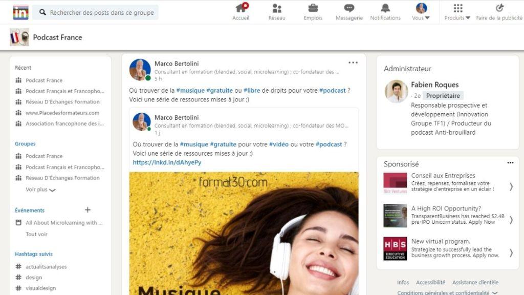 Podcast France - Groupe sur LinkedIn