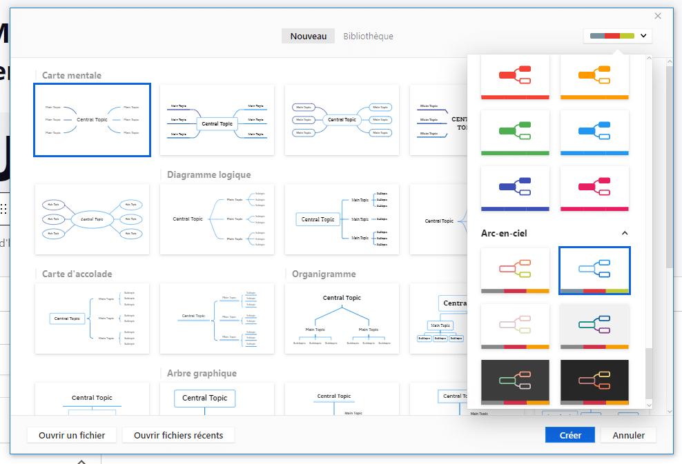 Modèles de couleurs et de formes dans XMind 2021