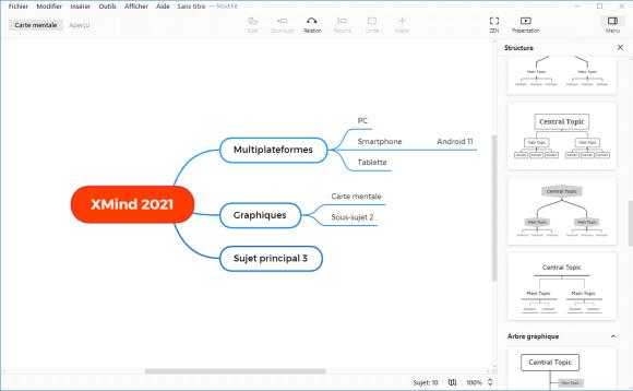 Structures de graphique dans XMind 2021