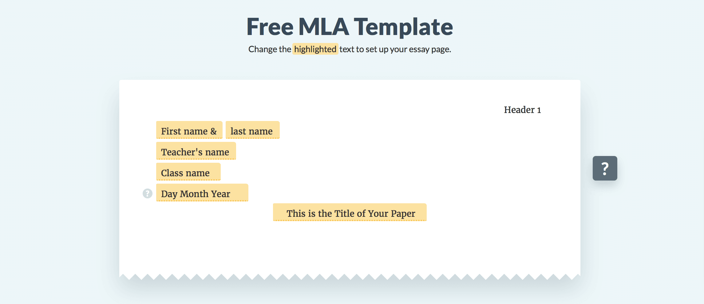 The Mla Template