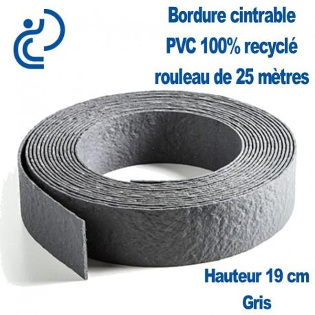 bordure de jardin grise cintrable h19cm pvc recycle rouleau de 25ml