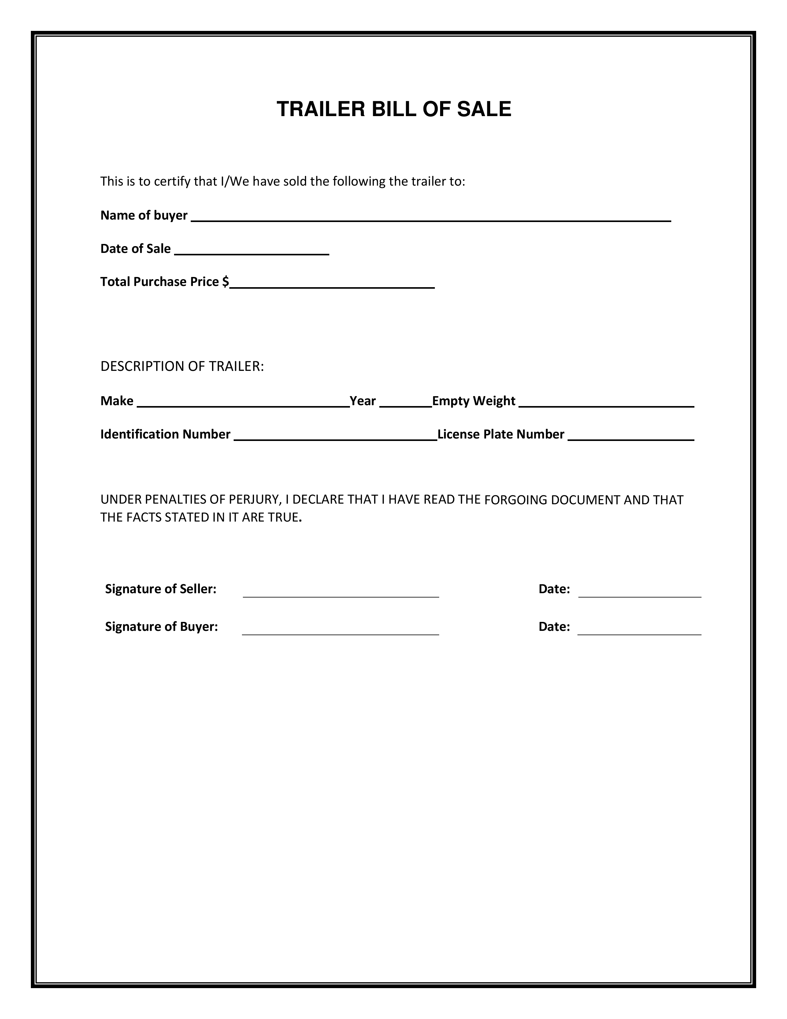download free bill of sale for car