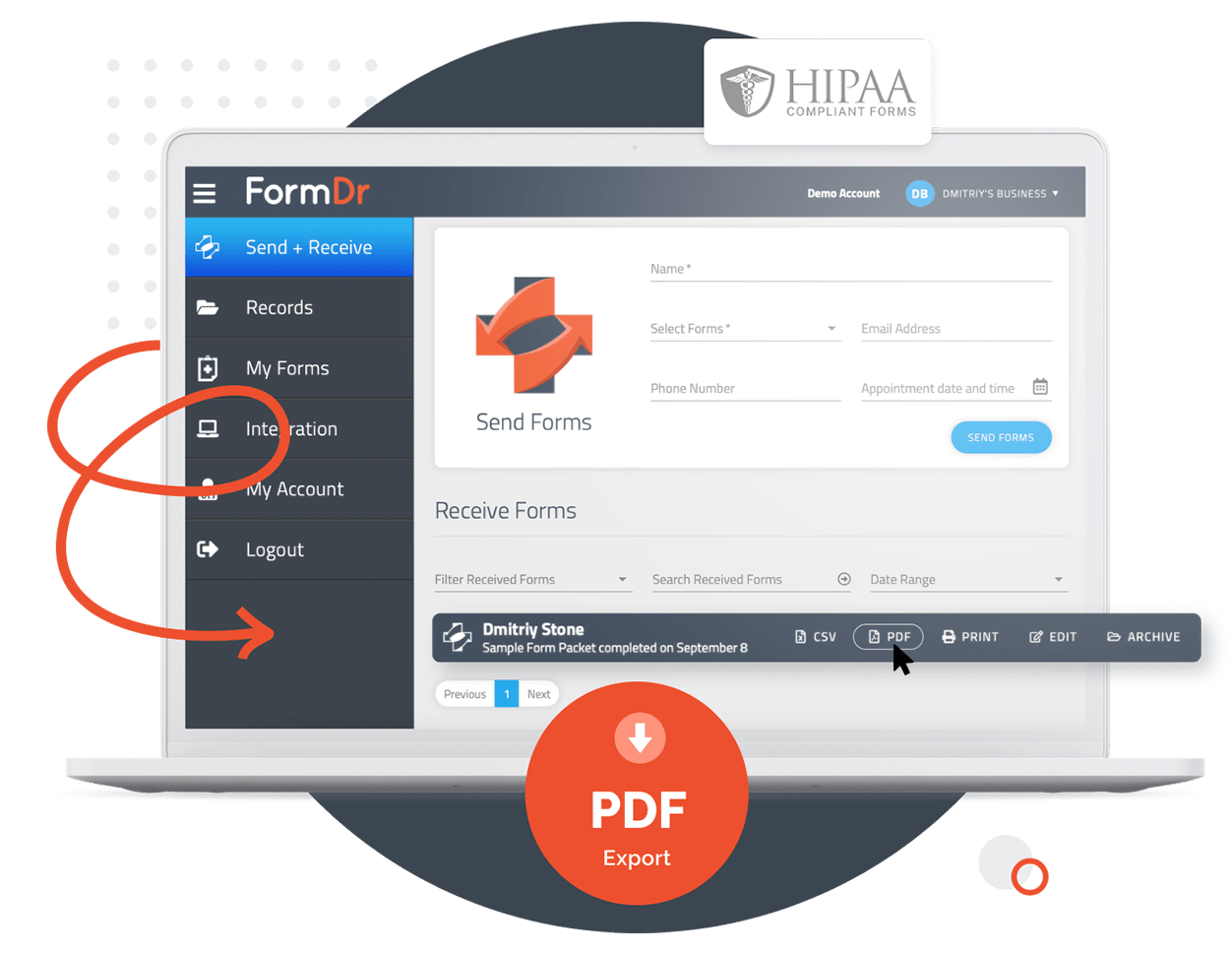 Export HIPAA Compliant Forms To PDF