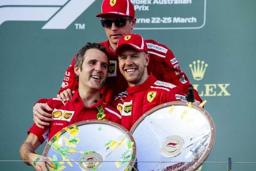 Vettel & Räikkönen på pallen efter Australiens GP 2018