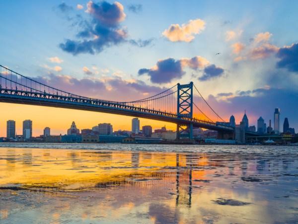 Panorama of Philadelphia skyline, Ben Franklin Bridge and Penn's