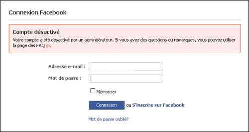 Récupérer un compte Facebook désactivé piraté