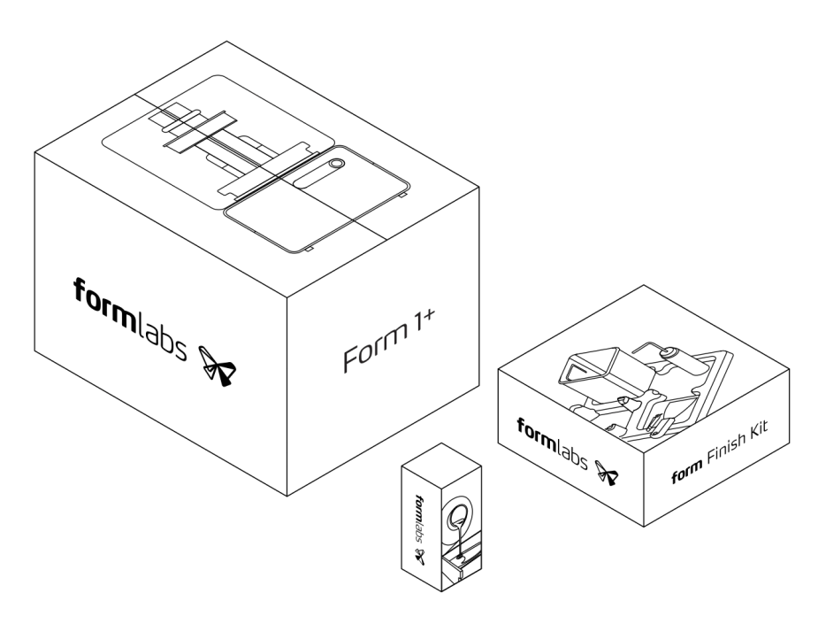 Three parts of Form 1+ packaging
