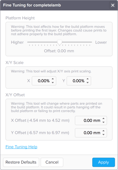 Fine Tuning menu for the Form 1+