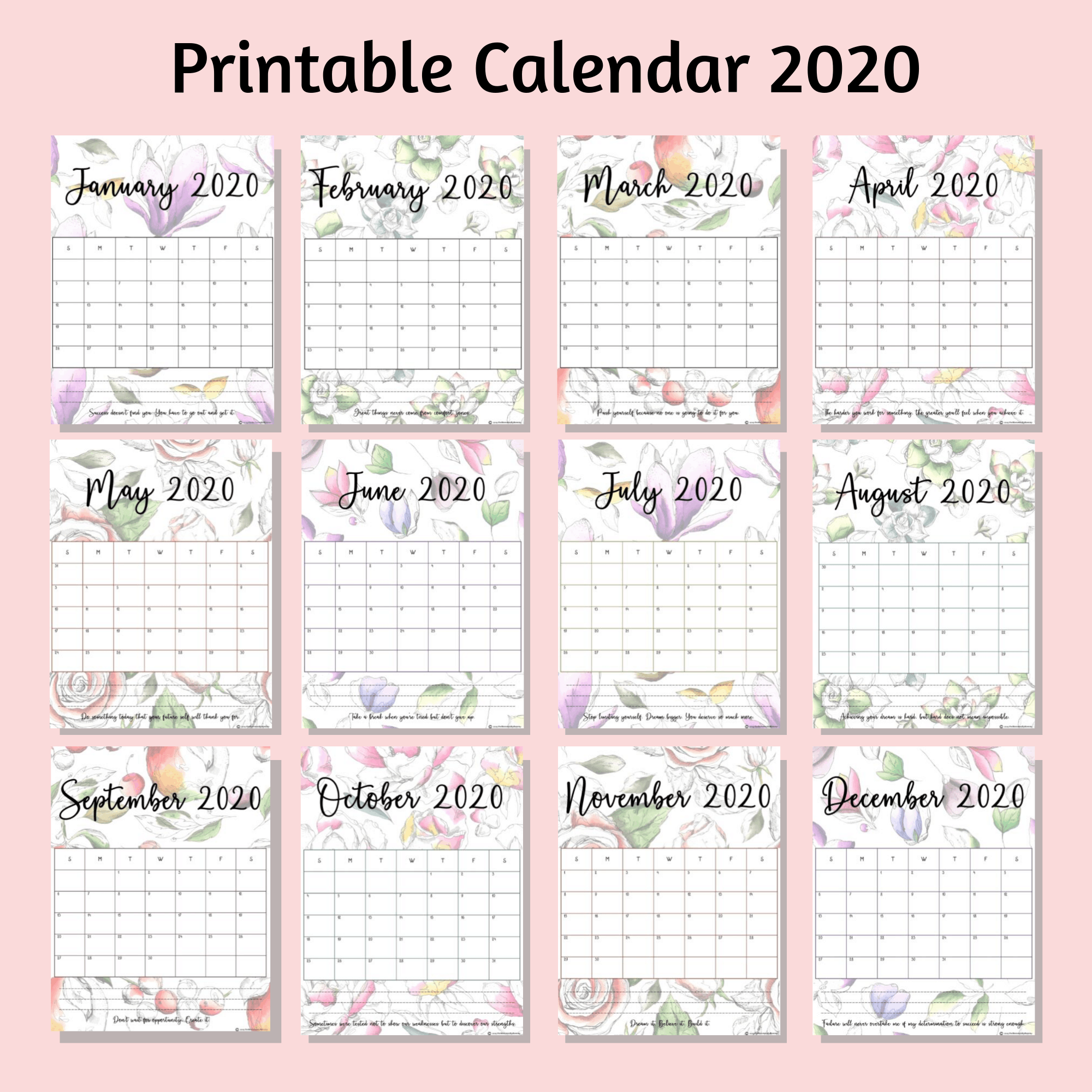 Printable Calendar In Beautiful Floral Designs