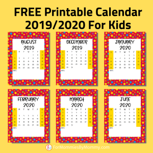 colorful printable calendar 2019 2020 for kids