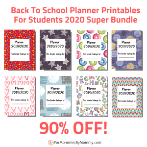 Back to school student planner printables
