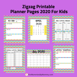 Zigzag Printable Planner Pages 2020 For Kids