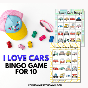 I Love Cars Bingo Cards For 10 And Memory Game