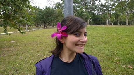 Eleni, with flower decorating her hair.