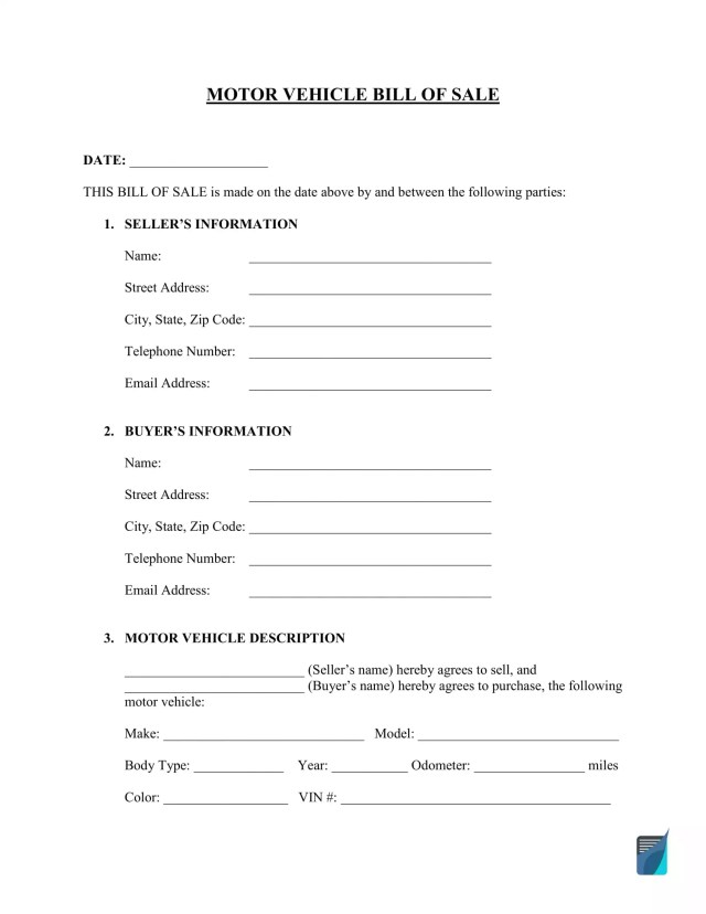 Free Bill of Sale Template - PDF  Word Forms - FormsPal