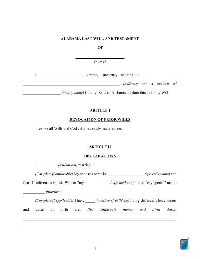 Fillable Alabama Last Will and Testament Form [FREE]  FormsPal
