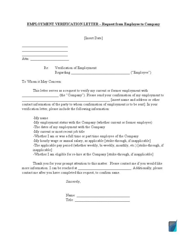 Employment Verification Letter  Employee Income Proof Form  FormsPal