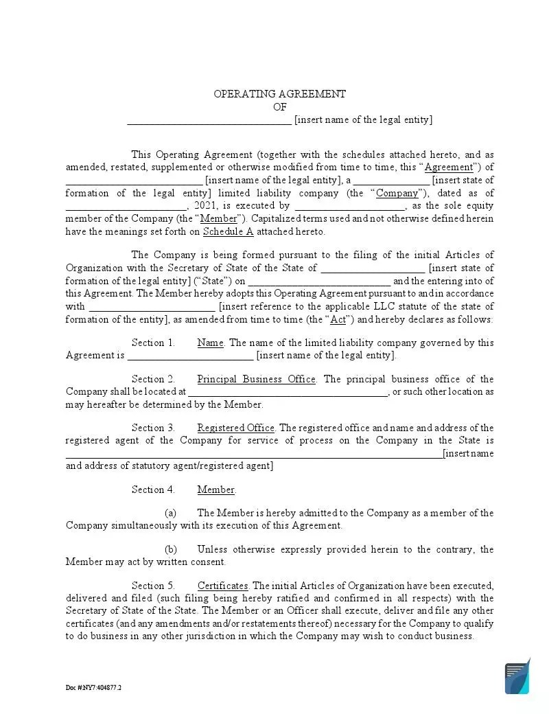 Set the important rules for your llc with our operating agreement template. Free Single Member Llc Operating Agreement Template