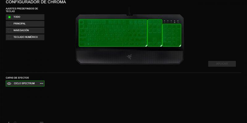 Razer Deathstalker Chroma - Razer Synapse - Configurador Chroma