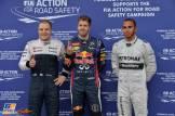 The Top Three Qualifiers : Third Place Valtteri Bottas (Williams F1 Team), Pole Position Sebastian Vettel (Red Bull Racing) and Third Place Lewis Hamilton (Mercedes AMG F1 Team)