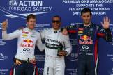 Sebastian Vettel (Red Bull Racing), Lewis Hamilton (Mercedes AMG F1 Team) and Mark Webber (Red Bull Racing)