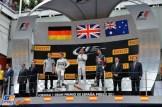 The Podium : Second Place Nico Rosberg, Race Winner Lewis Hamilton and Second Place Daniel Ricciardo