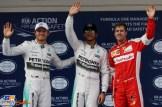 The Top Three Qualifiers : Second Place Nico Rosberg (Mercedes AMG F1 Team), Pole Position Lewis Hamilton (Mercedes AMG F1 Team) and Second Place Sebastian Vettel (Scuderia Ferrari)