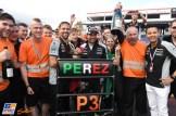 Sergio Pérez and Force India F1 Team celebrating the Third Place for Sergio Pérez