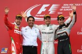 The Podium : Second Place Sebastian Vettel (Scuderia Ferrari), Race Winner Nico Rosberg (Mercedes AMG F1 Team) and Third Place Sergio Pérez (Force India F1 Team)