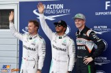 The Top Three Qualifiers : Second Place Nico Rosberg (Mercedes AMG F1 Team), Pole Position Lewis Hamilton (Mercedes AMG F1 Team) and Third Place Nico Hülkenberg (Force India F1 Team)