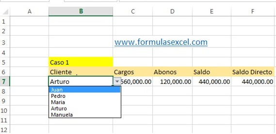 calcular saldo de clientes en excel - calculos