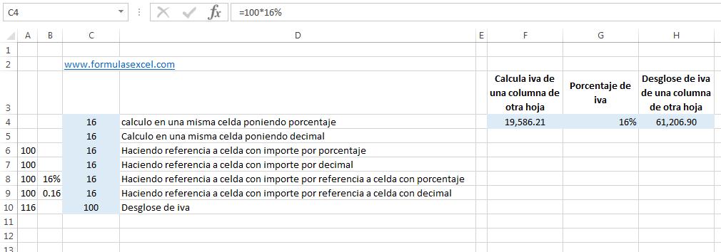 Formulas Excel para calcular IVA