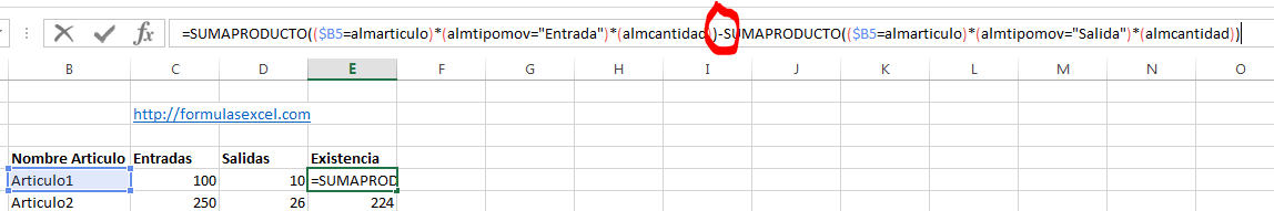 Curso de Excel – Formulas para calcular existencias – Formulas Excel