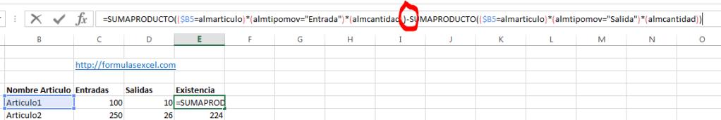 Curso de Excel parte 12 – Formula para Calcular Existencias