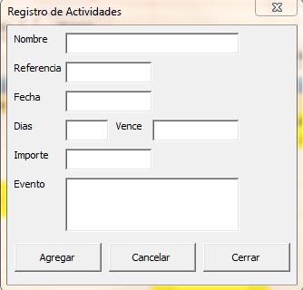 Agenda en Excel - Registro de actividades