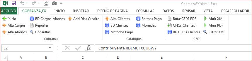 Menu de Opciones CobranzaFX 4.0