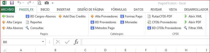 Menu PagosFX 4.0