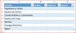 Tabla de Gastos - Cuentas y meses