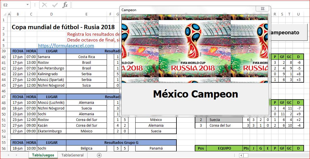 Calendario Rusia 2018 en Excel – Formulas Excel