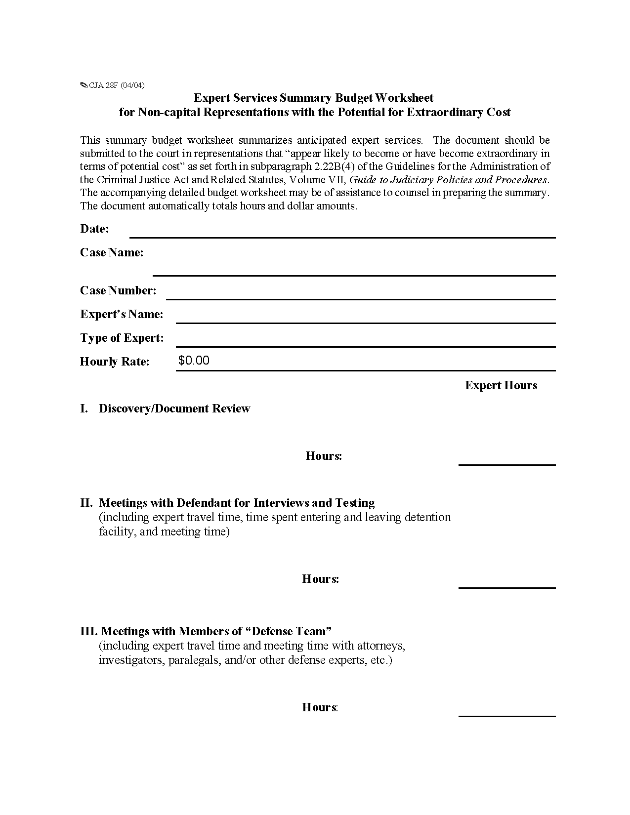 Form Cja F Expert Services Summary Budget Worksheet For Non Capital Representations With The
