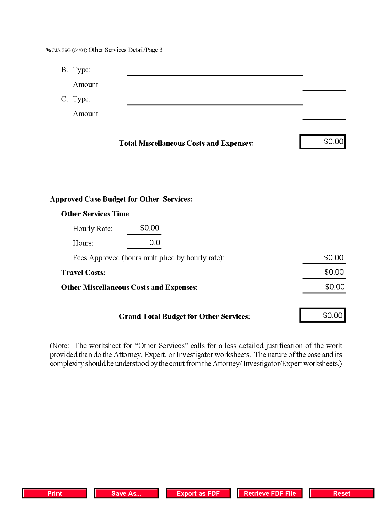Form Cja G Other Services Detailed Budget Worksheet