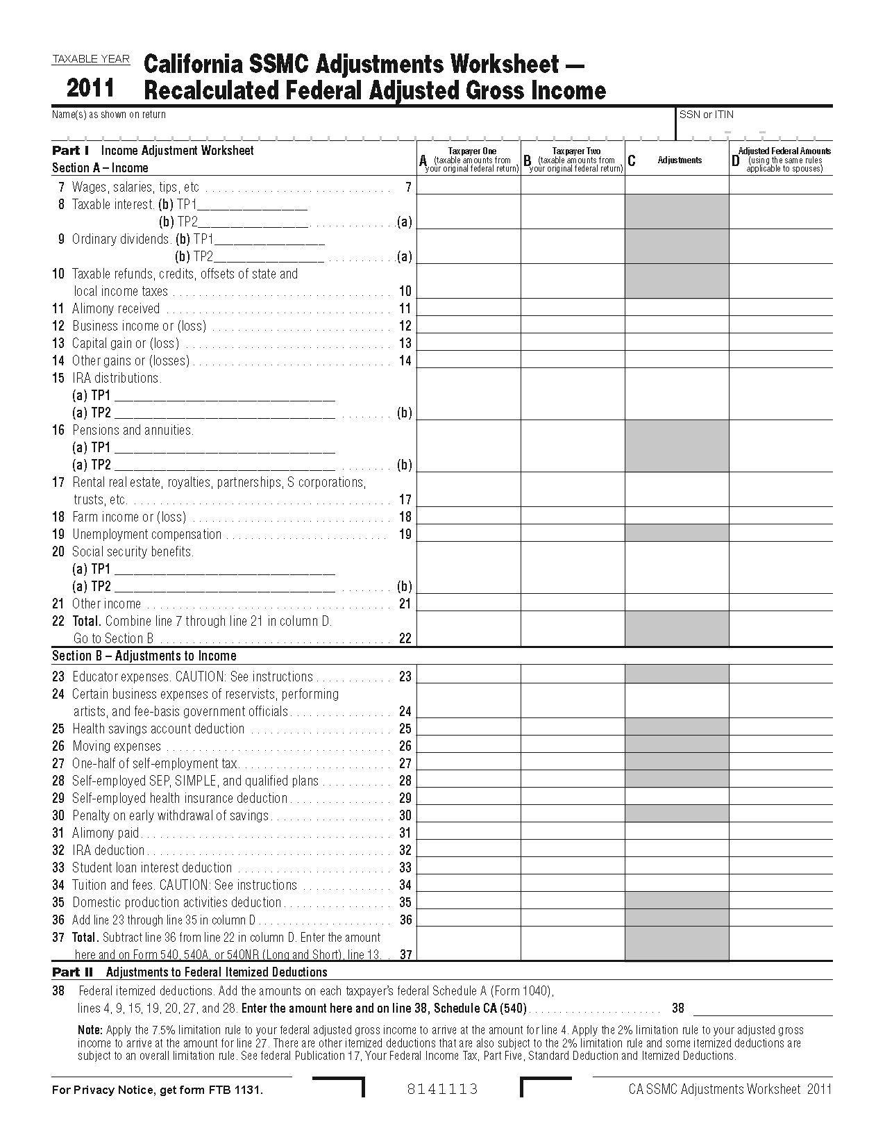 Irs Itemized Deductions Worksheet Printable