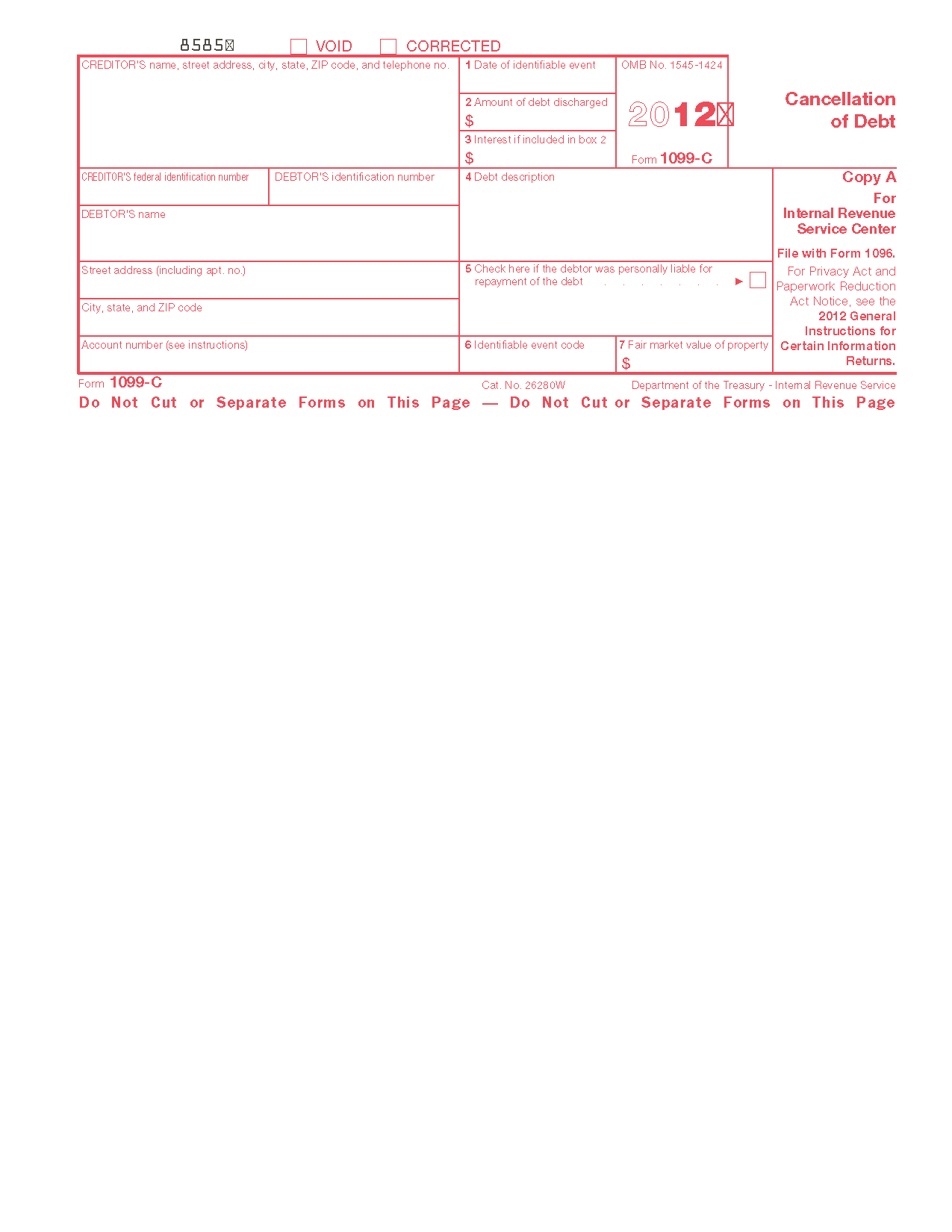 Form C Cancellation Of Debt Info Copy Only