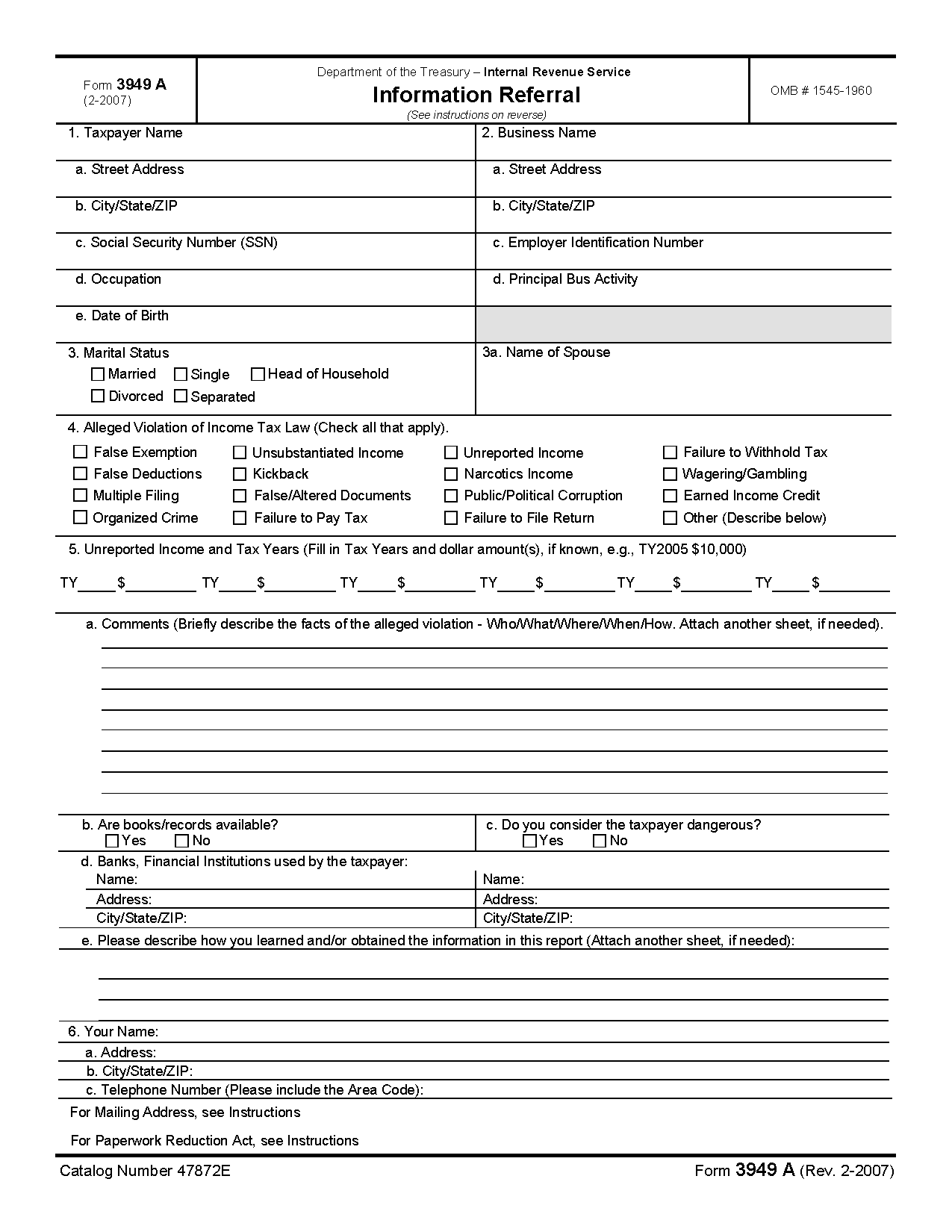 Form A Information Referral