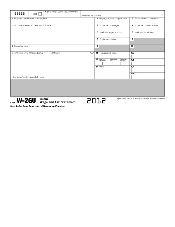 Form W-2GU Guam Wage and Tax Statement (Info Copy Only)