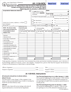 Form Ia Nol Application For Refund Due To The